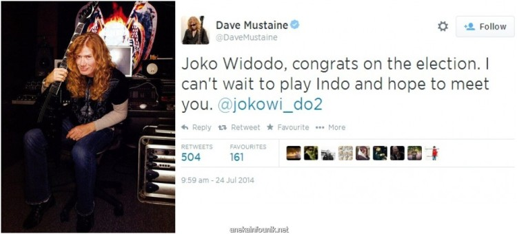 Dave Mustaine, Gitaris Megadeth, Beri Selamat ke Jokowi