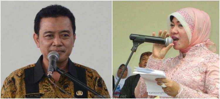 Foto Bupati Karawang Ade Swara dan Istri, Nurlatifah