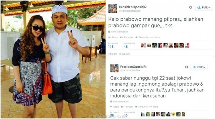 Foto Farhat Abbas dan Regina Nyoblos Jokowi