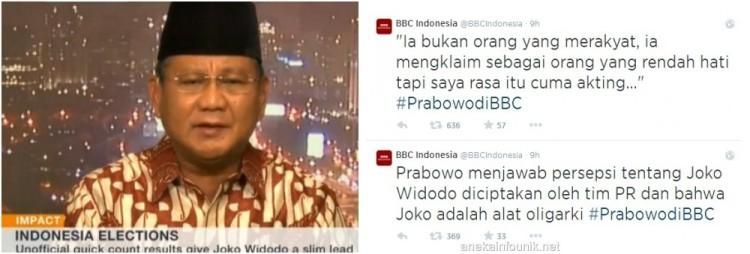Foto Wawancara Eksklusif BBC World TV dengan Prabowo