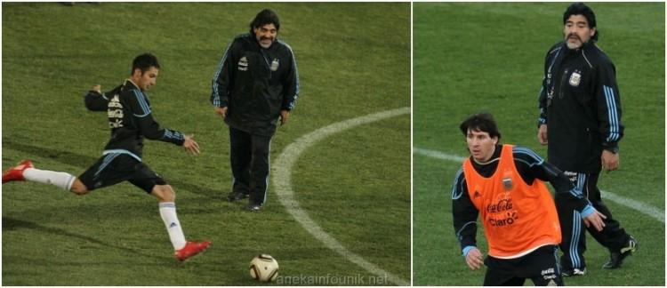 Gambar Maradona Memberi Instruksi Pada Latihan Argentina