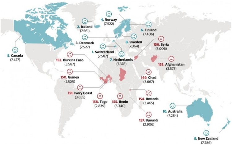 Peta 10 Besar Negara Terbahagia dan Tak Bahagia di Dunia
