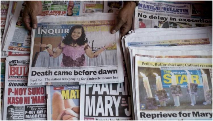 Sebagian surat kabar di Filipina memberitakan Mary Jane sudah dieksekusi mati