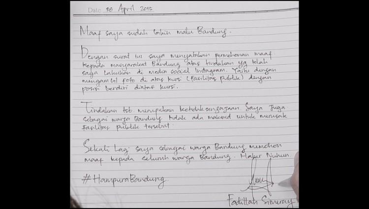 Surat permintaan maaf Fadillah Simeray