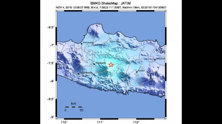 Peta pusat gempa 4,9 SR di Madiun