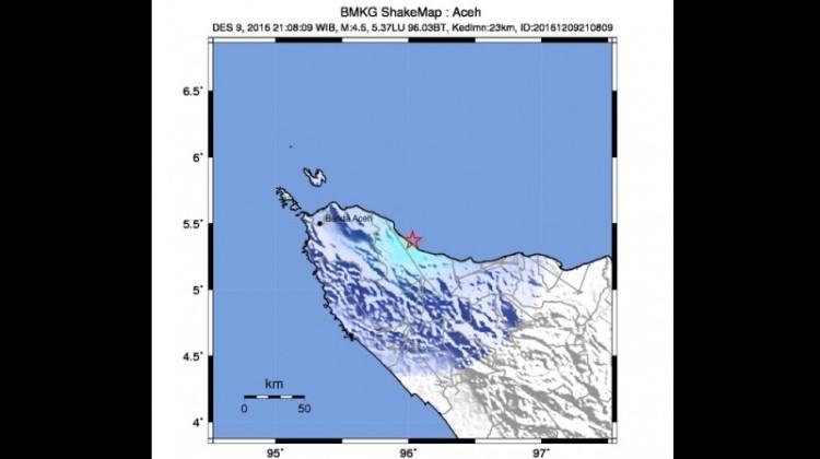 Lokasi Gempa 4,5 SR di Sigli Aceh