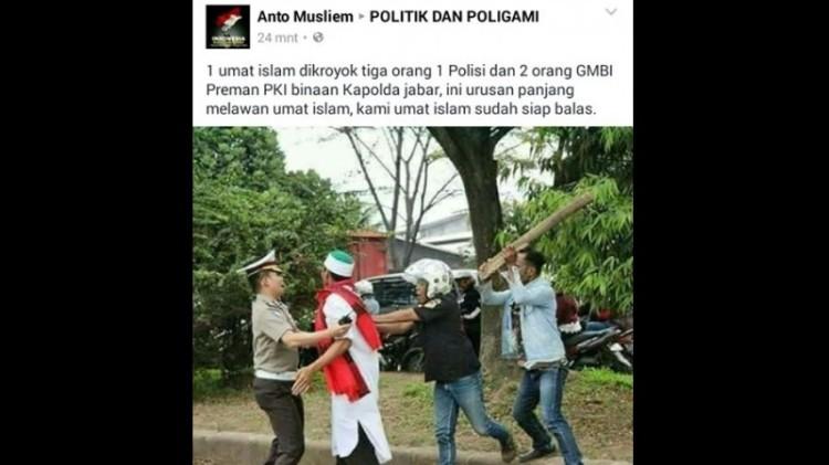 Foto hoax yang menyebut laskar FPI dipukul anggota GMBI