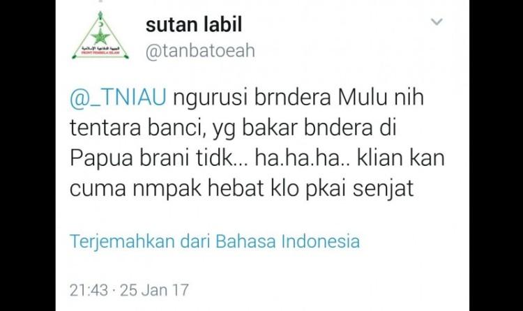 Kicauan nyinyir akun @tanbatoeah atau Sutan Labil