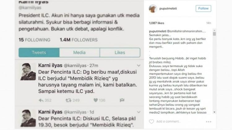 Puput Melati memuji sosok Rizieq di Instagram