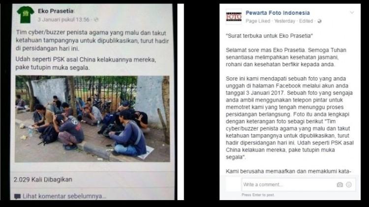 Status Eko Prasetia yang menghina wartawan foto