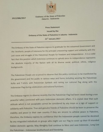 Surat keberatan Kedubes Palestina
