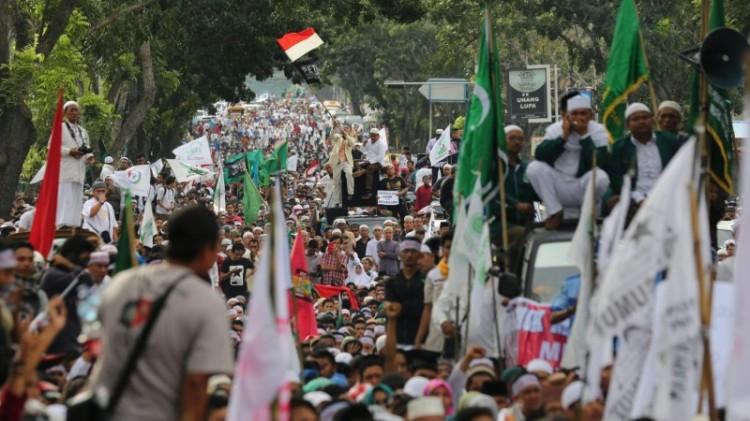 Aksi massa pada demo 212 di Medan, Sumut