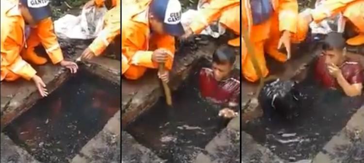 Aksi pasukan oranye nyemplung di got demi bersihkan sampah