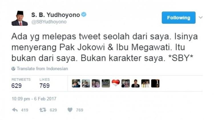 Curhat SBY soal tweet menyerang Jokowi dan Mega
