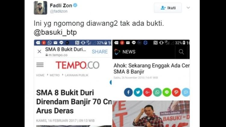 Fadli Zon sindir Ahok soal banjir Jakarta