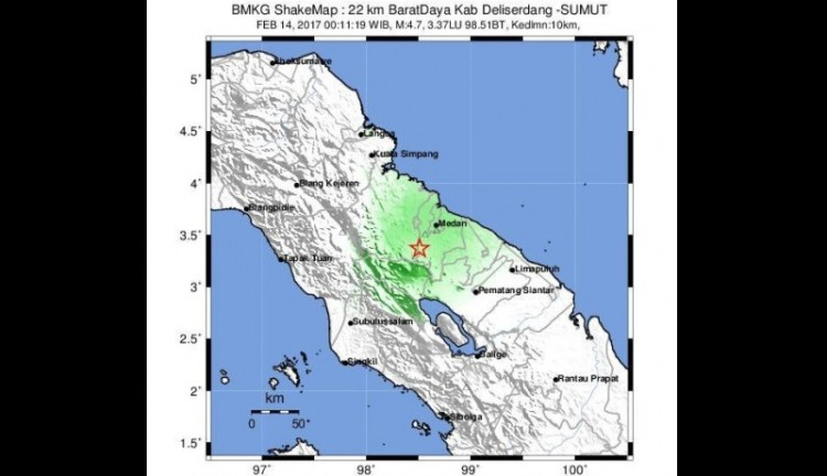 Gempa 4,7 SR pada 14 Februari 2017 di Medan dan Deli Serdang