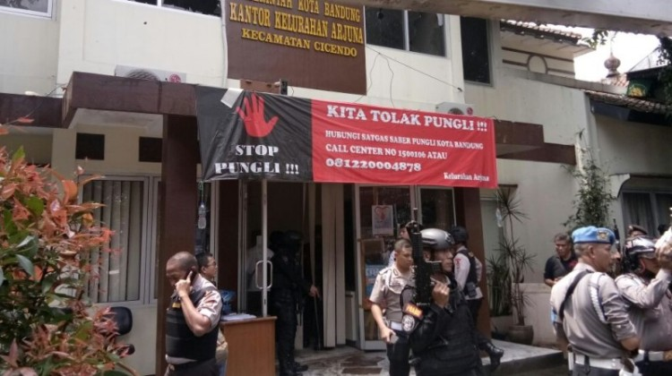 Kantor Kelurahan Arjuna Ciceno dijaga polisi