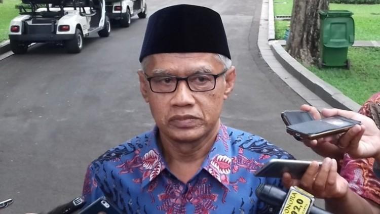 Ketum PP Muhammadiyah Haedar Nashir di kantor Wapres
