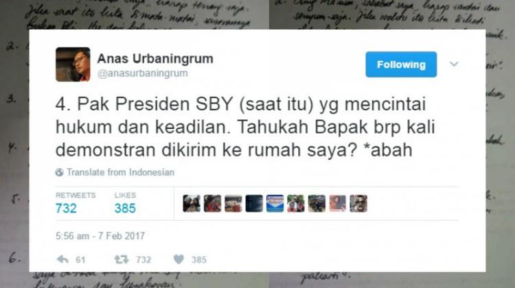 Kicauan Anas Urbaningrum soal demo di rumah SBY