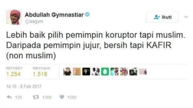 Kicauan Hoax sebut pilih pemimpin koruptor tapi muslim