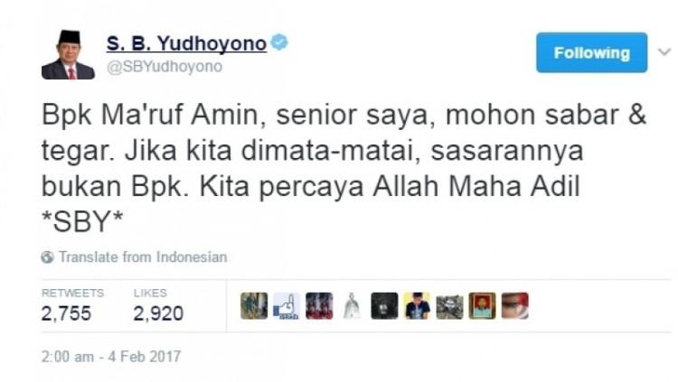 Kicauan SBY meminta Ma'ruf Amin sabar dan tegar