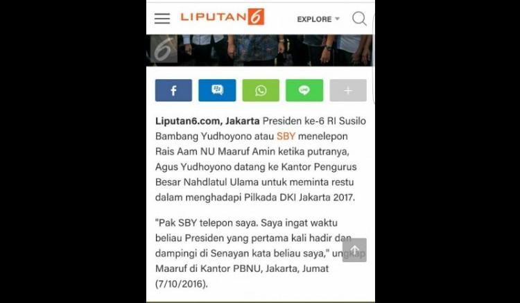 Liputan6com yang memuat berita SBY menelepon Ma'ruf Amin