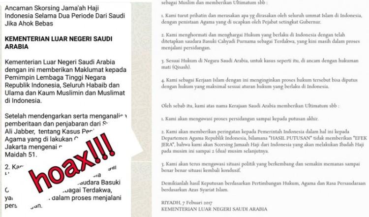 Pernyataan Kemenlu Saudi Arab Saudi yang hoax