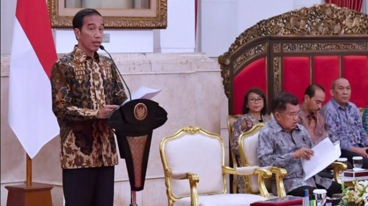Presiden Jokowi di Istana Merdeka
