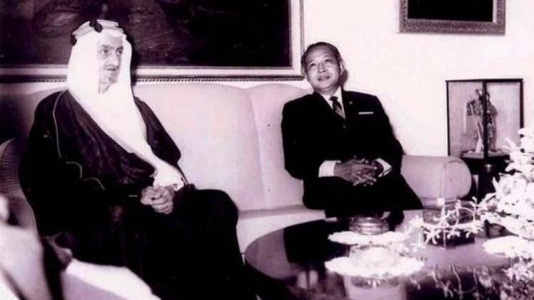 Presiden Soeharto menerima kunjungan Raja Faisal di Istana Merdeka