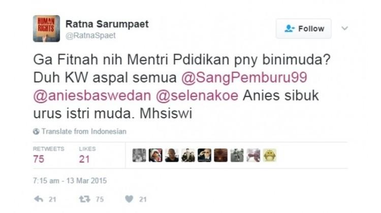 Ratna Sarumpaet fitnah Anies Baswedan soal istri muda