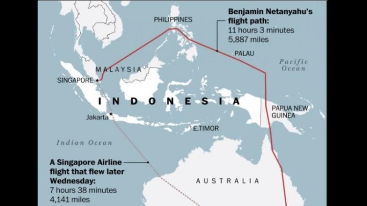Rute Netanyahu hindari wilayah Indonesia