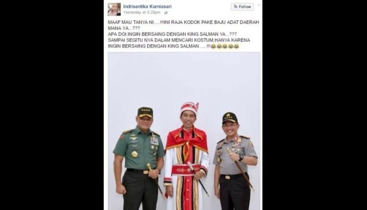 Status Indrisantika Kurniasari yang menghina Presiden Jokowi dan baju adat Maluku
