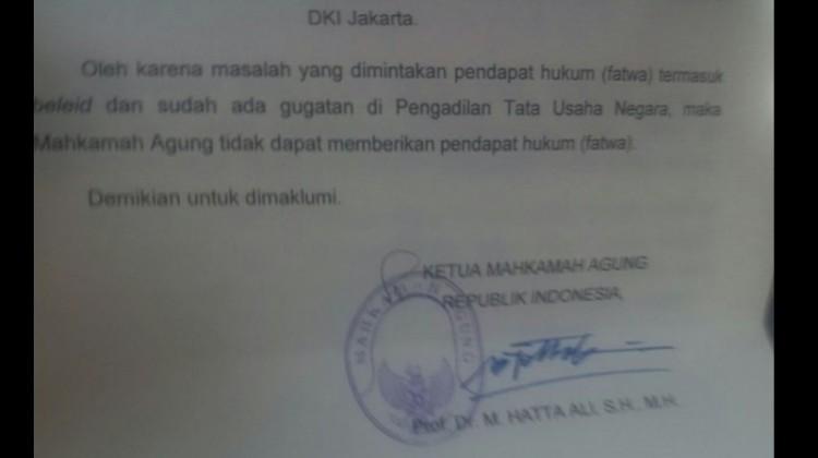 Surat Fatwa MA Soal Status Gubernur Ahok