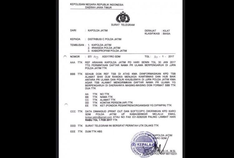 Telegram Kapolda Jatim soal pendataan ulama