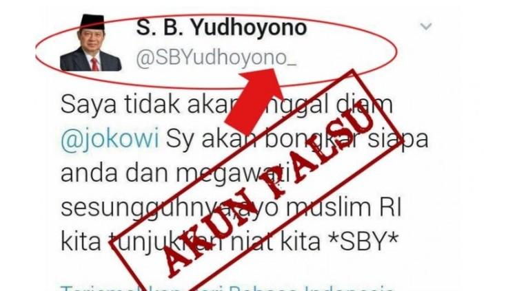 Tweet palsu yang mengataskannamakan SBY