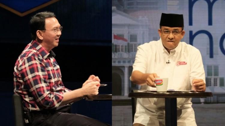 Ekspresi Ahok dan Anies saat debat di Mata Najwa