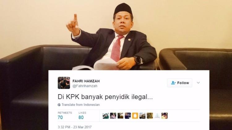 Fahri Hamzah mengkritik kualitas penyidik KPK
