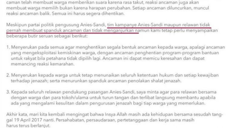 Pernyataan sikap Anies Baswedan soal spanduk tolak salatkan jenazah