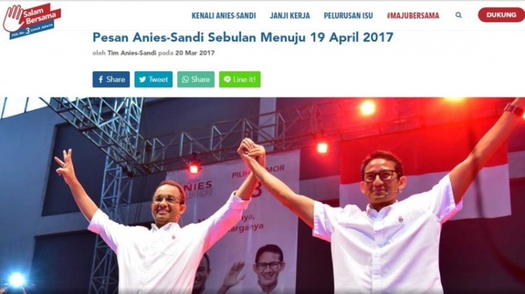 Pesan Anies-Sandi Sebulan Menuju 19 April 2017