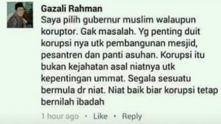 Gazali Rahman pilih gubernur muslim walau koruptor