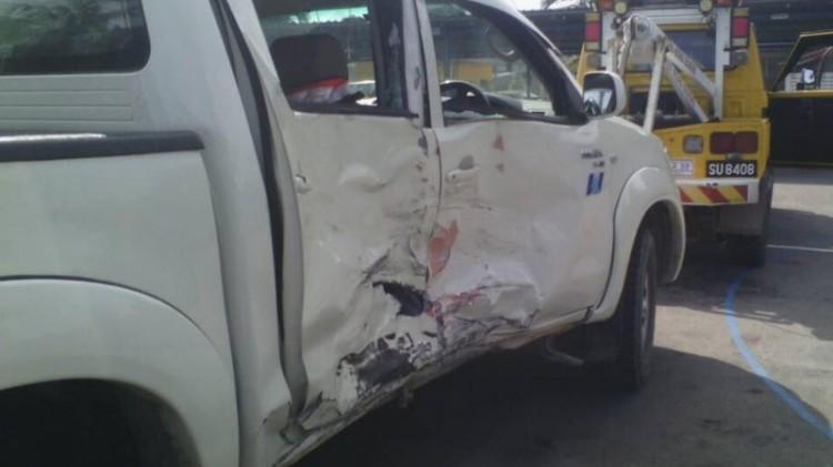 Kondisi mobil yang terlibat kecelakaan dengan moge Bambang