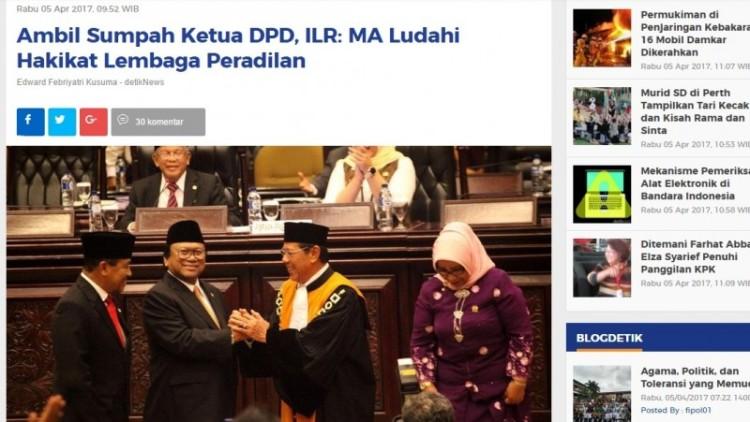 MA dikritik karena ambil sumpan Osman Sapta jadi Ketua DPD