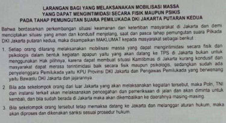 Maklumat Larang Mobilisasi Massa ke TPS 19 April