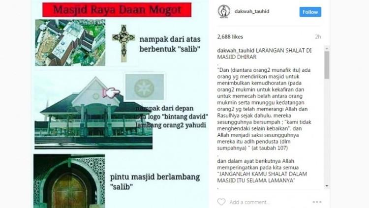 Masjid Raya Daan Mogot difitnah bentuk salib