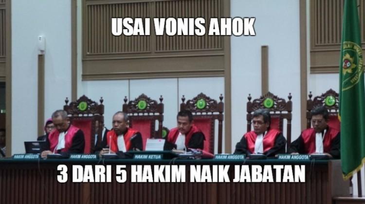 3 dari 5 hakim kasus Ahok mendapatkan promosi jabatan
