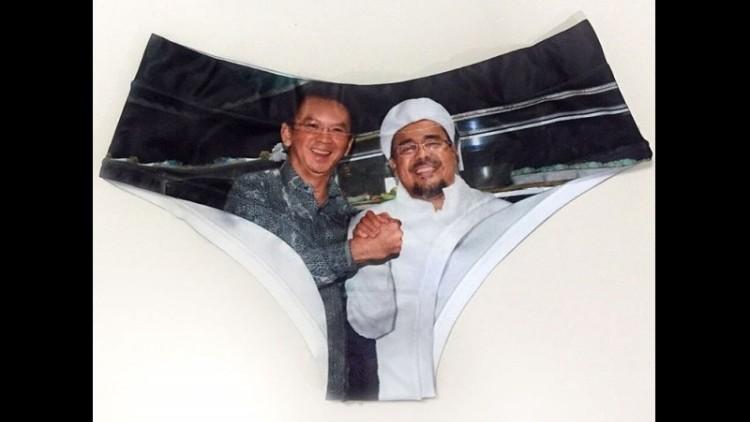 Ahok dan Rizieq salam komando dalam celana dalam