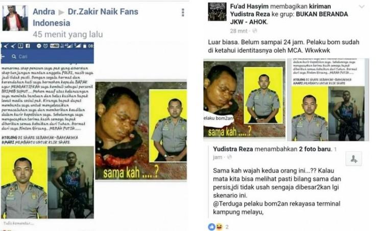 Akun FB yang menyebut Rinton pelaku bom bunuh diri