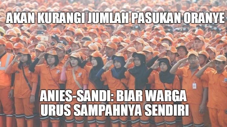 Anies-Sandi akan kurangi pasukan oranye