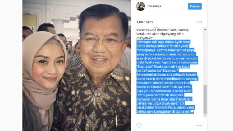 Chairani Kalla curhat di Instagram