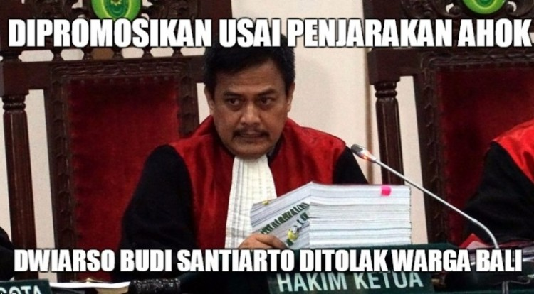 Hakim Dwiarso Budi Santiarto ditolak di Bali